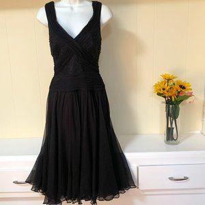 Tadashi Collection Dress Black Beaded Silk Flare 6